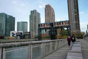 A view of the waterfront of Long Island City in the Queens borough of New York.