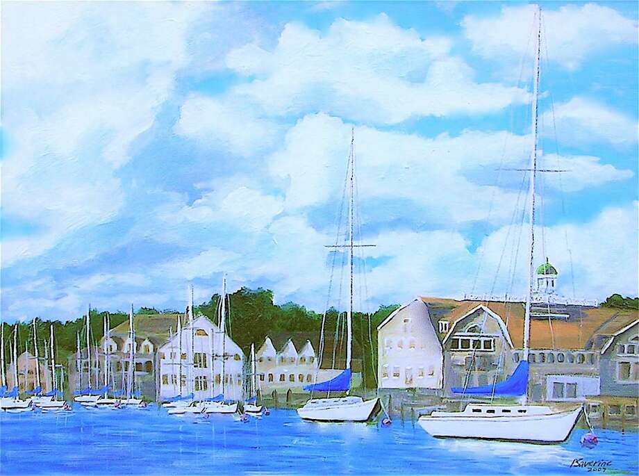 A painting of Rowayton Harbor by Peter Saverine. Photo: Contributed