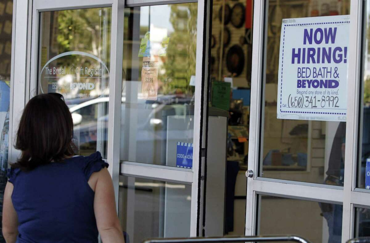 A Bed Bath & Beyond store advertises for employment, in San Mateo, Calif.