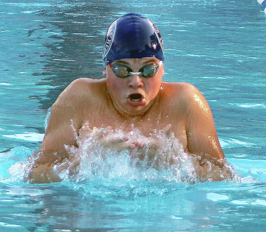 Cohen Osborn of the Edwardsville YMCA Breakers amassed 140 points at the recent Ozark A Championships in Carbondale. Osborn won every individual event he swam in the thee-day meet at SIUC. Photo: Pete Hayes | The Telegraph