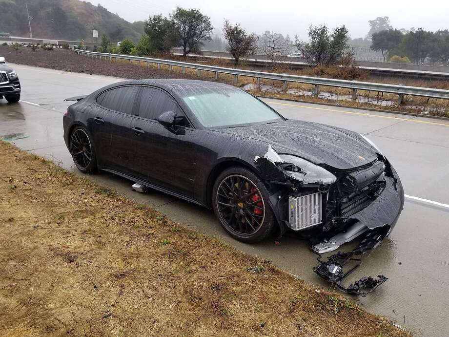 Warriors guard Stephen Curry's car was damaged during two collisions on Friday, Nov. 23, 2018, while on his way to shootaround in Oakland. Photo: Handout, California Highway Patrol / Facebook