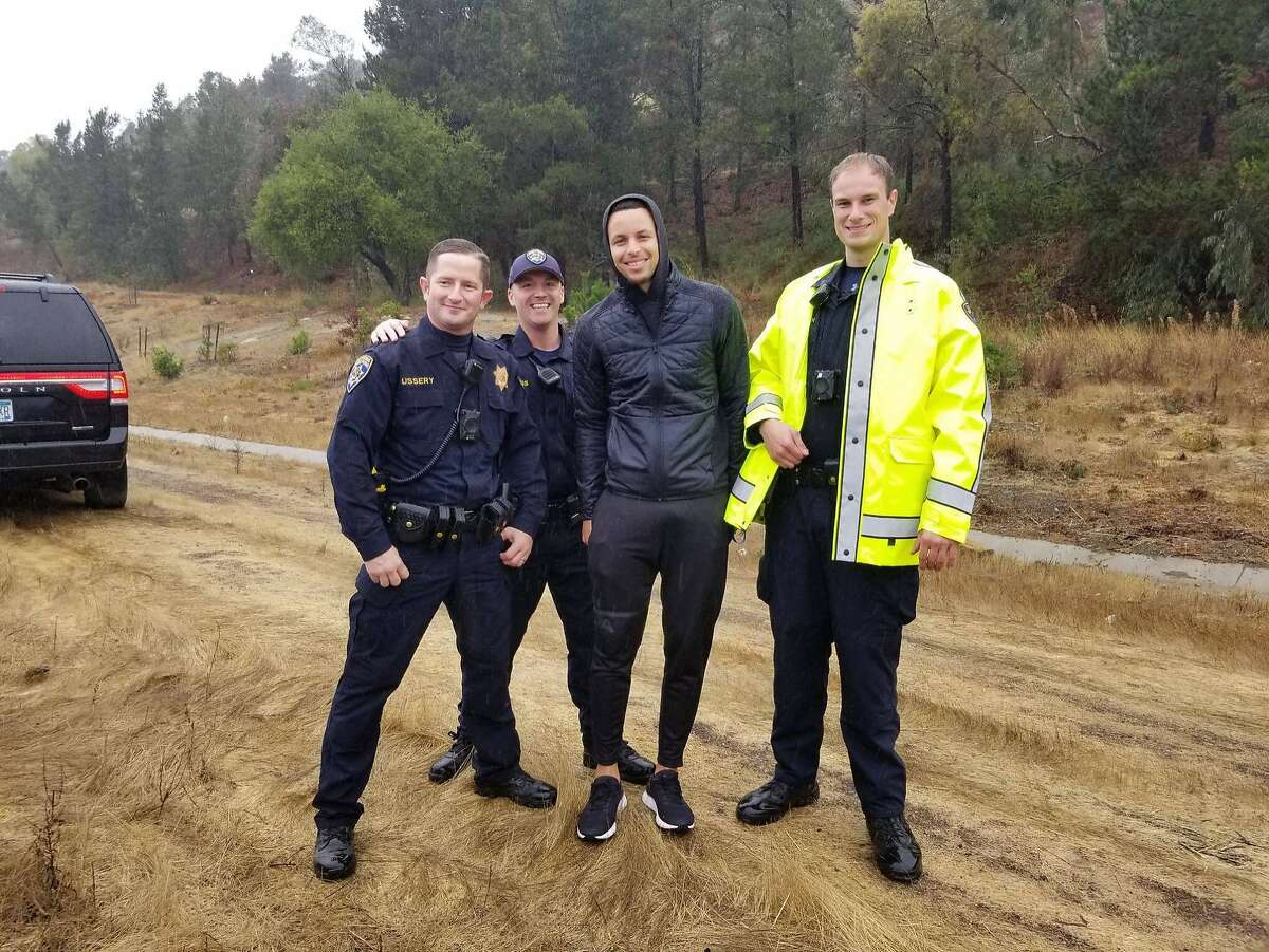 Warriors guard Stephen Curry poses for a picture after police responded to a multi-vehicle crash that involved Curry's black Porsche on Friday, Nov. 23, 2018 while on his way to shootaround in Oakland.