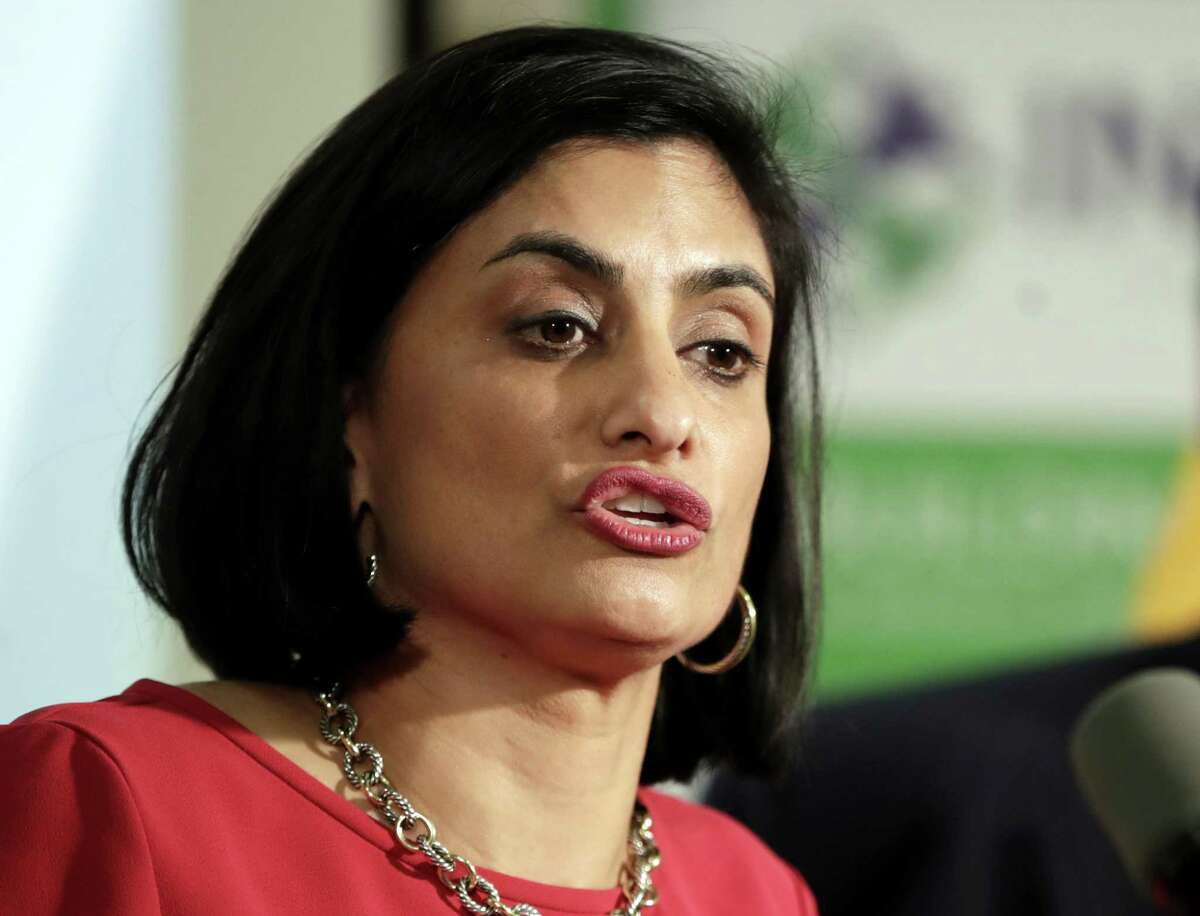 Seema Verma, administrator of the Centers for Medicare and Medicaid Services, speaks during a news conference in Newark, N.J. last year. Arkansas followed the federal government's lead in requiring Medicaid recipients to work - but it has not worked.