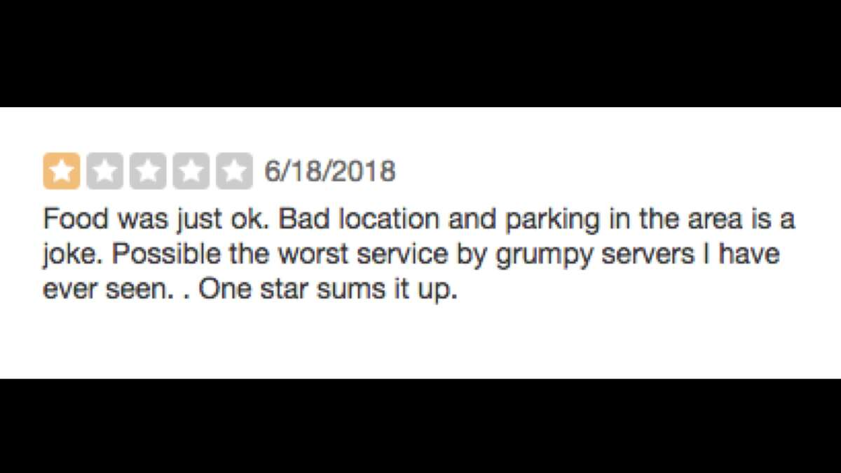 You passively accept a meal and later complain about it on Yelp You don't tell your waiter something was wrong with your meal, because you prefer to leave a scathing review on Yelp. You give them a one star and only lament the fact that Yelp still hasn't added a no star feature.