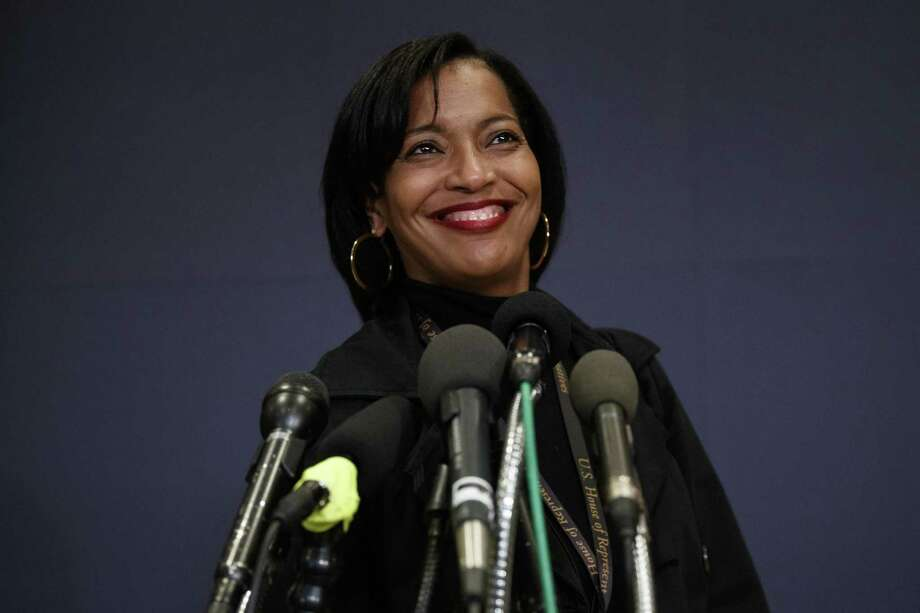 Rep.-elect Jahana Hayes, D-Conn., pauses as she speaks to media as she walks from member-elect briefings on Capitol Hill in Washington, Thursday, Nov. 15, 2018. | File Photo Photo: Carolyn Kaster / Associated Press / Copyright 2018 The Associated Press. All rights reserved