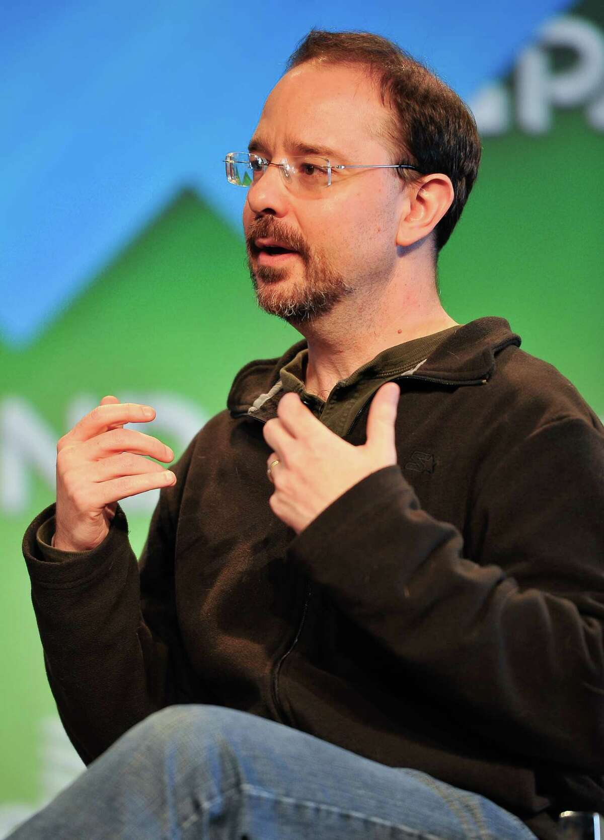 SAN FRANCISCO, CA - MARCH 16: John Scalzi speaks at the Science Fiction panel at Engadget Expand - Day 1 at Fort Mason Center on March 16, 2013 in San Francisco, California. (Photo by Steve Jennings/Getty Images for Engadget)