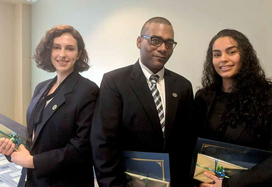 Naugatuck Valley Community College inducted three new students into the prestigious President's Circle during a November 2 ceremony: Irisa Hoxha, John Williams, and Ingrid Taveras. Photo: Contributed Photo