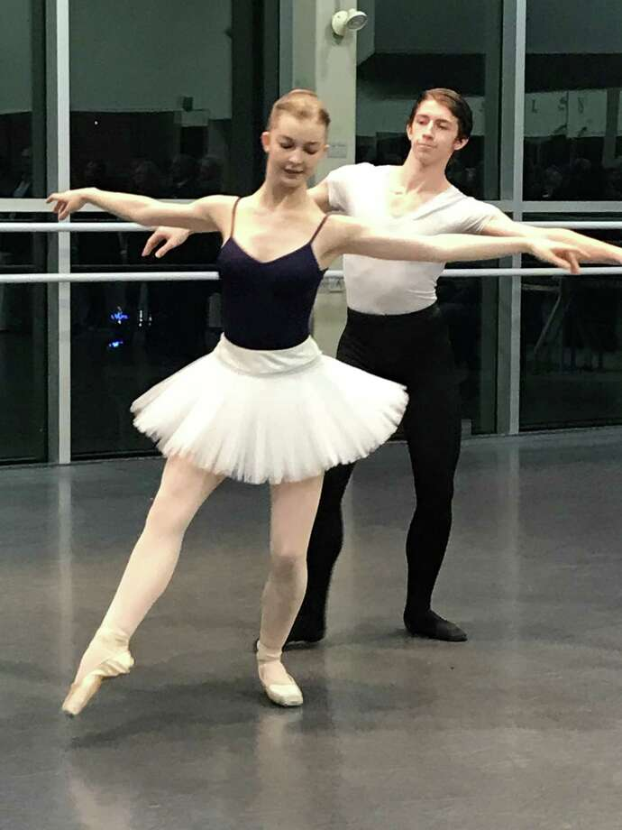 "Nutmeg students Rachel Kundzins and Stone Dresser performed the pas de deux from the end of act two of ""The Nutcracker."" Photo: Contributed Photo /"