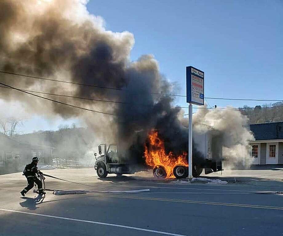 derby firefighters extinguish truck blaze the hour