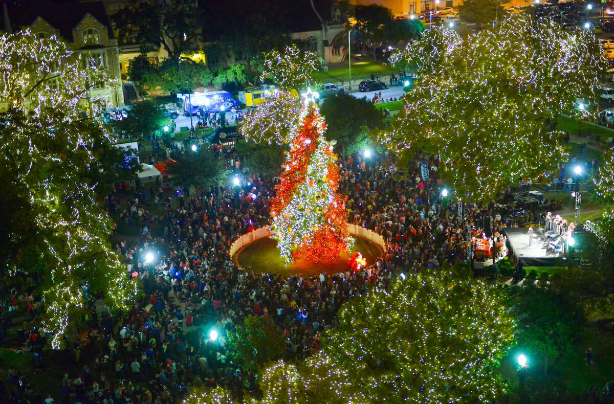 Travis Park A 55-foot White Fir dazzles, with over 250,000 lights and custom-made ornaments.