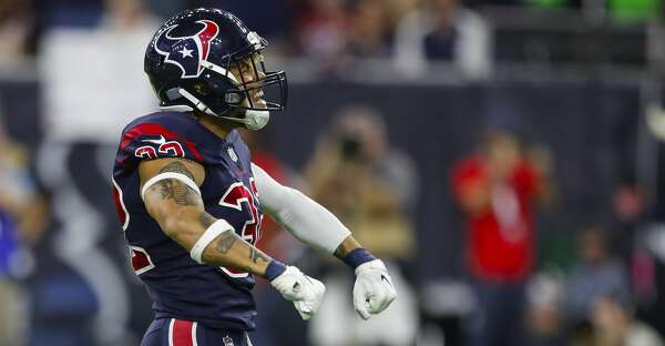 Houston Texans free safety Tyrann Mathieu (32) celebrates after sacking  Miami Dolphins quarterback Brock Osweiler (8) during the fourth quarter of  an NFL ... ec98359ad