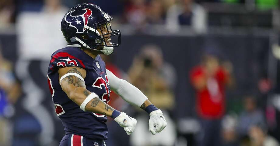 PHOTOS:Texans' cleats for 2018's My Cause, My Cleats campaign Houston Texans free safety Tyrann Mathieu (32) celebrates after sacking Miami Dolphins quarterback Brock Osweiler (8) during the fourth quarter of an NFL football game at NRG Stadium on Thursday, Oct. 25, 2018, in Houston. >>>Browse through the photos for a look at the Texans' cleats for 2018's My Cause, My Cleats campaign ... Photo: Brett Coomer/Staff Photographer