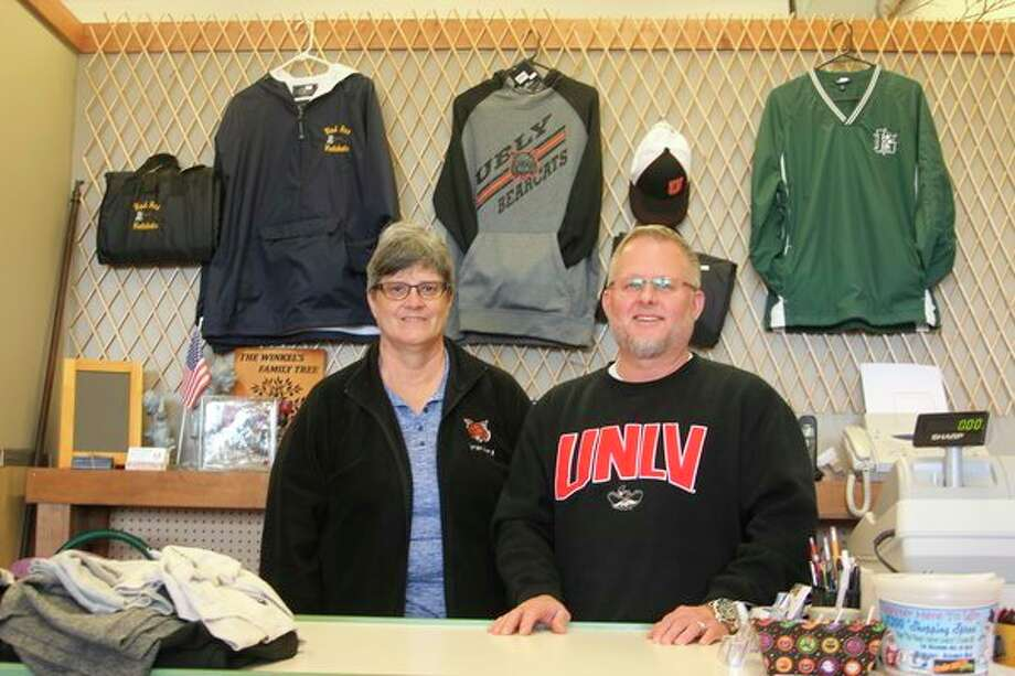 Sheila Winkel (left) and Jeff Rubin (right), who own Main Street Mercantile along with Jeff's wife, Tanya, enjoy the local connections they have made during the five years that they have owned the store, which is located at 743 N. Van Dyke in Bad Axe. (Mike Gallagher/Huron Daily Tribune)
