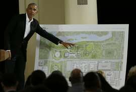 FILE - In this May 3, 2017, file photo, former President Barack Obama speaks near a rendering for the former president's lakefront presidential center at a community event on the Presidential Center at the South Shore Cultural Center in Chicago. The city of Chicago has made its first full-throated response to a lawsuit seeking to stop construction of the Obama Presidential Center, saying the buildings would sit on land that wasn't subject to restrictive public-trust laws. (AP Photo/Nam Y. Huh, File)