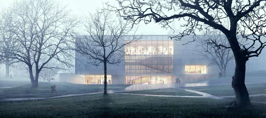 The facade of the expanded Bruce Museum, as it would appear in the mist of Bruce Park in central Greenwich. Below, The temporary science space at the Bruce Museum Photo: Contributed Artwork / Courtesy Of The Bruce Museum /