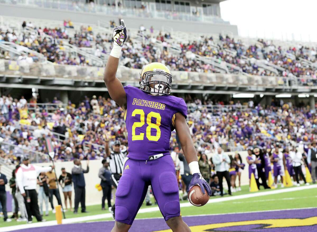 Prairie View Am Panthers running back Caleb Broach (28) reacts after his touchdown in the second quarter against Texas Southern Tigers, putting the Panthers ahead 29-7.