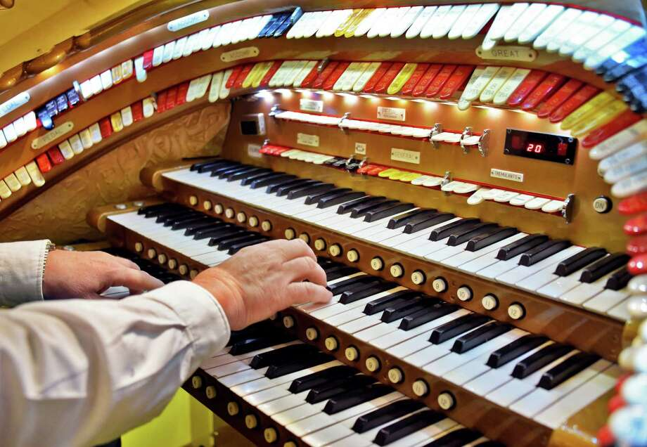 "J. Nixon McMillan of Delmar at  the keyboard of ""Goldie"", Proctor's mighty Wurlitzer Organ for a free noontime organ concert by the Hudson - Mohawk Theatre Organ Society Tuesday at Proctor's Theatre Feb. 27, 2018 in Schenectady, NY.  (John Carl D'Annibale/Times Union) Photo: John Carl D'Annibale / 20043055A"