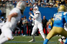 PASADENA, CA - NOVEMBER 24:  K.J. Costello #3 of the Stanford Cardinal looks to pass the ball during the first half of a game against the UCLA Bruins at the Rose Bowl on November 24, 2018 in Pasadena, California.  (Photo by Sean M. Haffey/Getty Images)