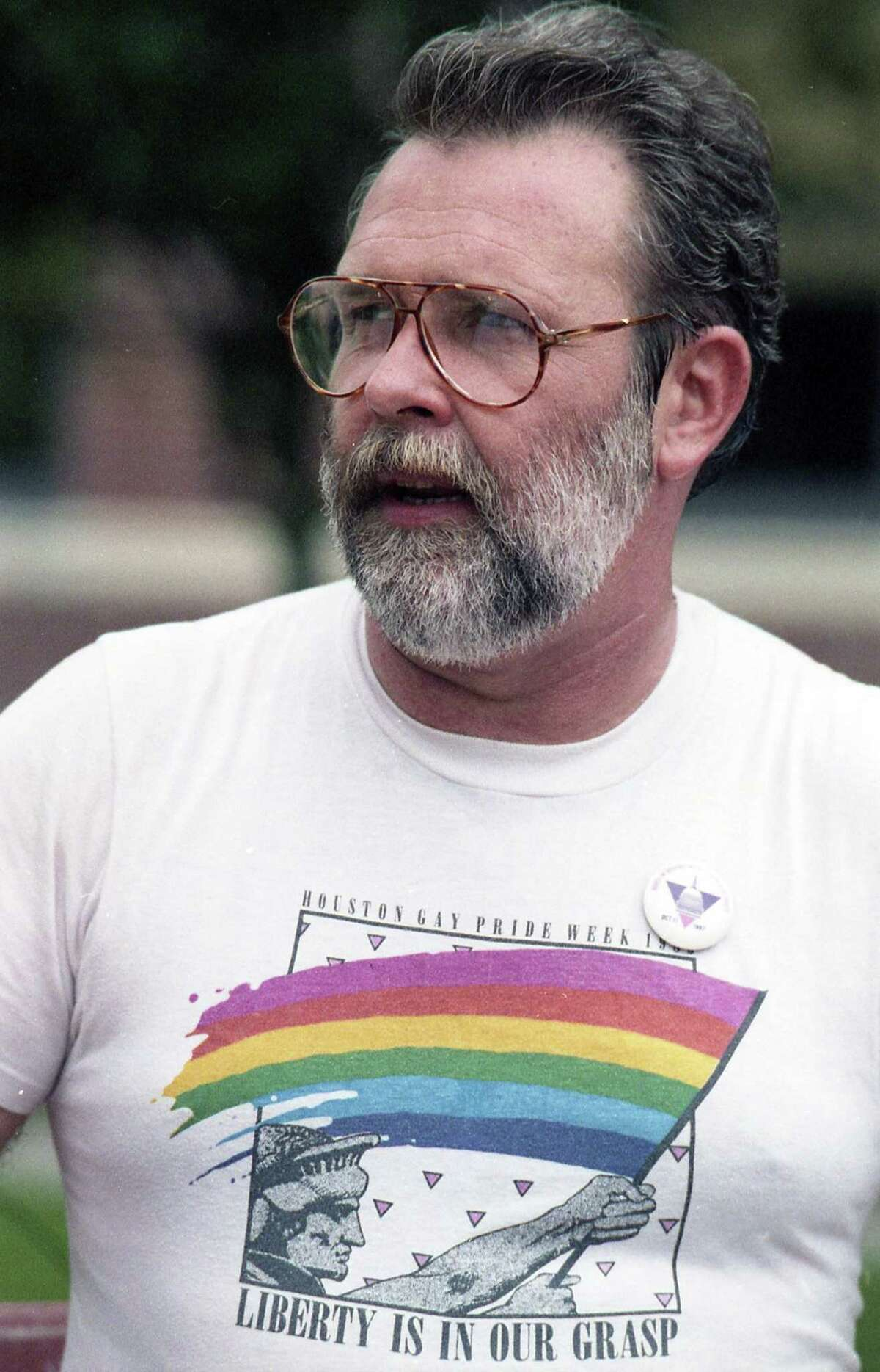 Houston gay rights activist Ray Hill after winning a Supreme Court ruling that struck down a 101-year-old Houston city ordinance prohibiting citizens from interrupting police officers in the execution of their duties.The high court ruled 8-1 that the ordinance violated the Constitution in trying to protect police from interference by the public, June 15, 1987