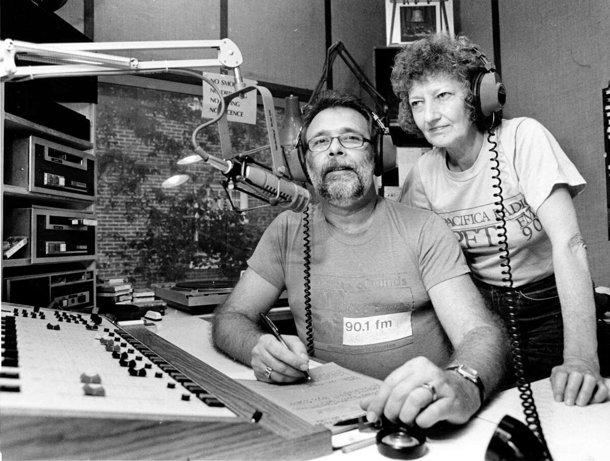 """10/30/1986 - (L-R) Ray Hill and Shan Donaldson hosts """"The Prison Show, """" a globally praised call-in program that gives inmates' families a venue in which to discuss prison issues and send messages to their loved ones, in the KPFT-FM radio studios in Houston."""