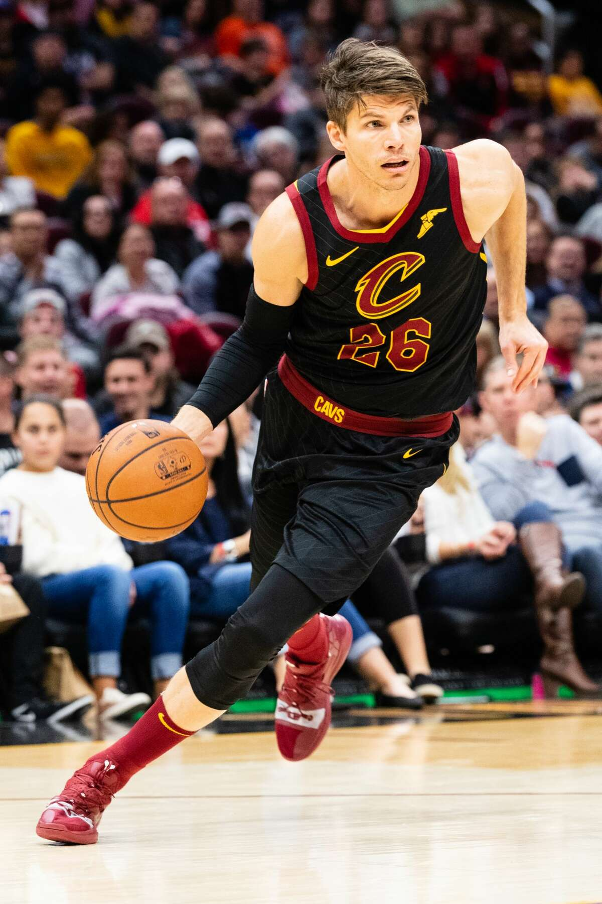 CLEVELAND, OH - NOVEMBER 24: Kyle Korver #26 of the Cleveland Cavaliers drives to the basket during the second half against the Houston Rockets at Quicken Loans Arena on November 24, 2018 in Cleveland, Ohio. The Cavaliers defeated the Rockets 117-108. NOTE TO USER: User expressly acknowledges and agrees that, by downloading and/or using this photograph, user is consenting to the terms and conditions of the Getty Images License Agreement. (Photo by Jason Miller/Getty Images)