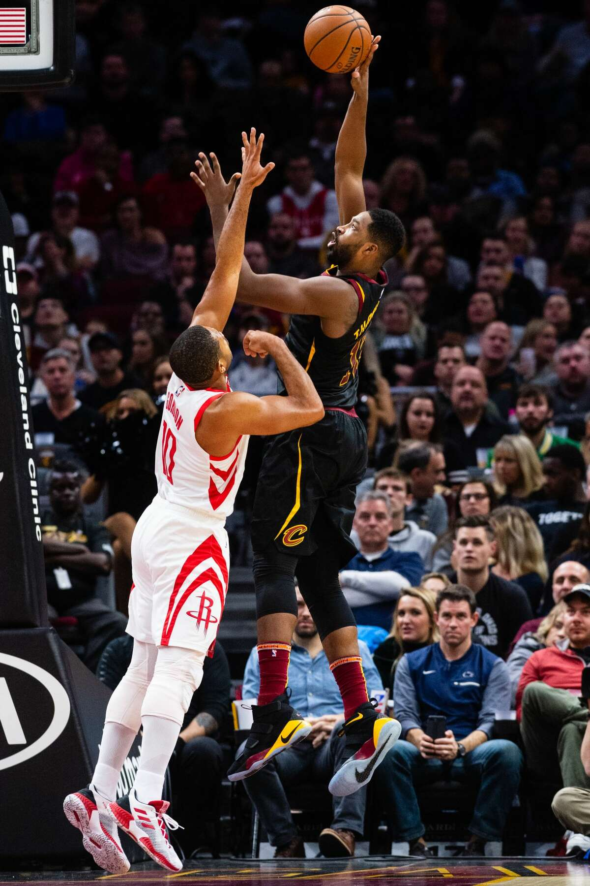 CLEVELAND, OH - NOVEMBER 24: Tristan Thompson #13 of the Cleveland Cavaliers shoots over Eric Gordon #10 of the Houston Rockets during the first half at Quicken Loans Arena on November 24, 2018 in Cleveland, Ohio. NOTE TO USER: User expressly acknowledges and agrees that, by downloading and/or using this photograph, user is consenting to the terms and conditions of the Getty Images License Agreement. (Photo by Jason Miller/Getty Images)