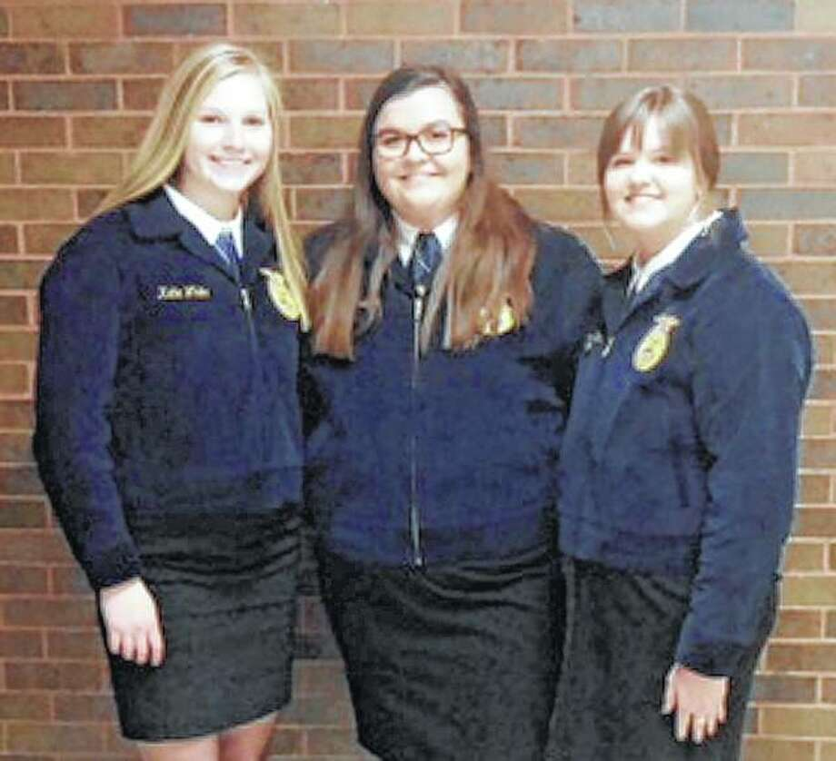 Jacksonville FFA chapter members Katie White, Allison Wheeler and Ann Becker recently attended the FFA Build Conference in Decatur. Photo: Photo Provided
