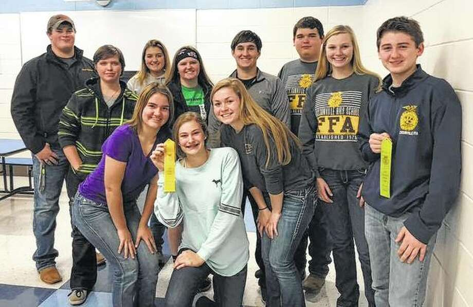 Jacksonville FFA chapter members recently competed in the Section Agronomy contest at Triopia. The varsity team, which finished in fifth place, included members Austin Dufelmeier, Meghan Hadden, Annie Jackson, Anne Becker, Skylar Bartz, Lona Goodsell, Blake Hadden, Katie White and Garrett Bruns. The greenhand team, which place seventh, included members Wyatt Bruns and Ashley Fry. Photo: Photo Provided