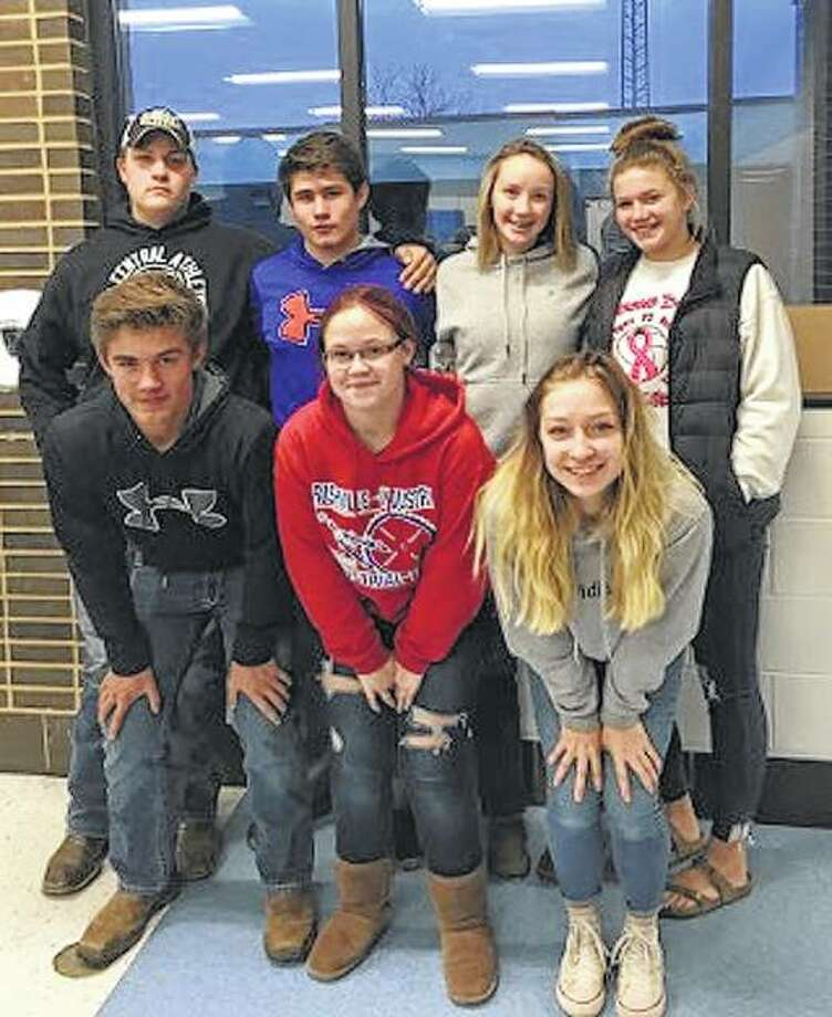 Members of the Bluffs FFA chapter traveled to Triopia on Nov. 6 to participate in crop judging. The greenhand team placed fifth overall, while the varsity team placed seventh. Greenhand team member Landon Barnett placed 16th in individual competition. Greenhand team members include Landon Barnett (front row, from left), Hannah Bailey, Emily Tytko, Josh Bailey (back row, from left), Lathan Barnett, Anna Merriman and Ashley Gregory. Photo: Photos Provided