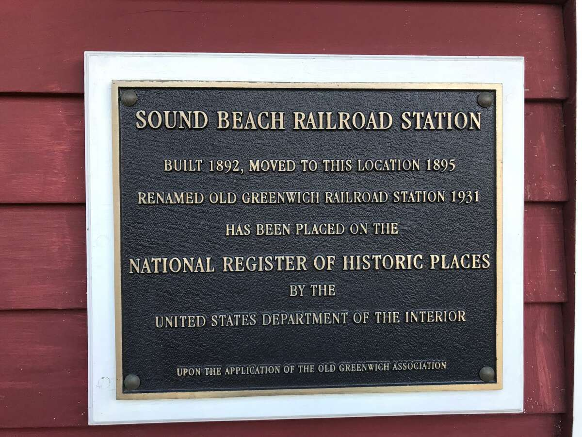 The plaque commemorating The Old Greenwich Railroad Station's listing in the National Register of Historic Places.