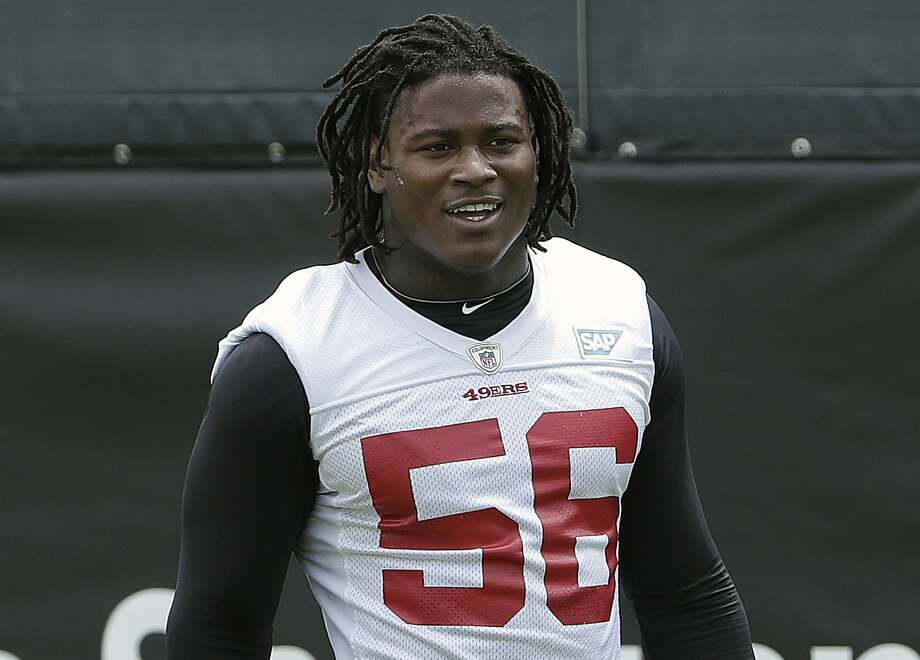 In this May 30, 2018, file photo, San Francisco 49ers linebacker Reuben Foster walks on the field during a practice at the team's NFL football training facility in Santa Clara, Calif. Foster was arrested Saturday, Nov. 24, at the team hotel on charges of domestic violence. Photo: Jeff Chiu, Associated Press