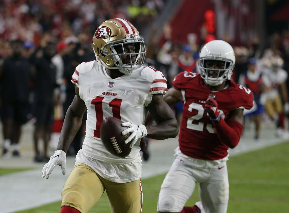 a5b83ad410f San Francisco 49ers wide receiver Marquise Goodwin (11) during an NFL  football game against