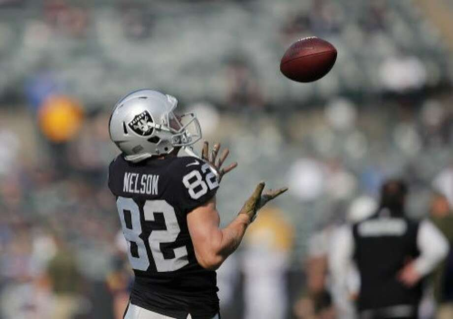 Oakland Raiders wide receiver Jordy Nelson (82) warms up before an NFL football game against the Los Angeles Chargers in Oakland, Calif., Sunday, Nov. 11, 2018. (AP Photo/John Hefti) Photo: John Hefti / Associated Press