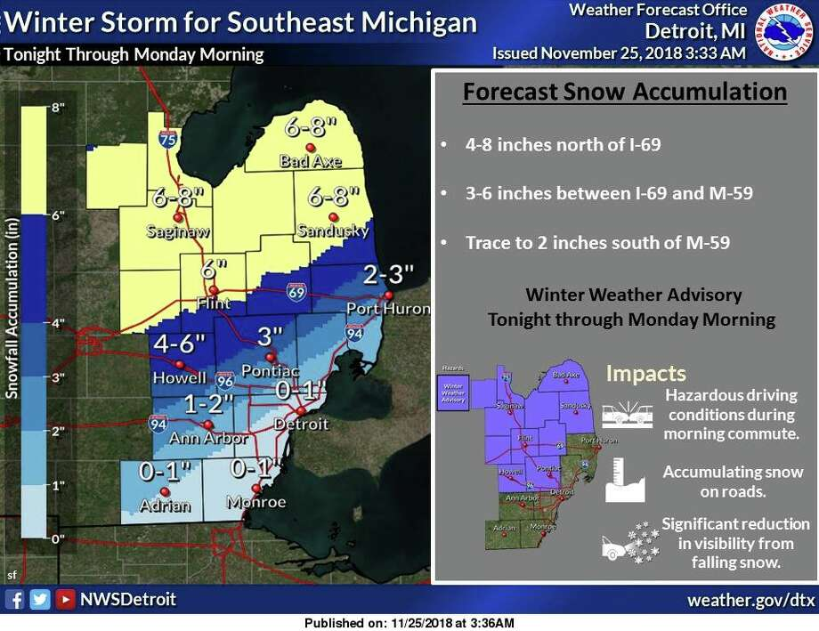 A winter weather advisory has been issued tonight through Monday morning for areas generally along and north of M-59 for 4 to 8 inches of snow. South of M-59, precipitation is expected to be mostly rain, with just a trace to 2 inches of snow accumulating.