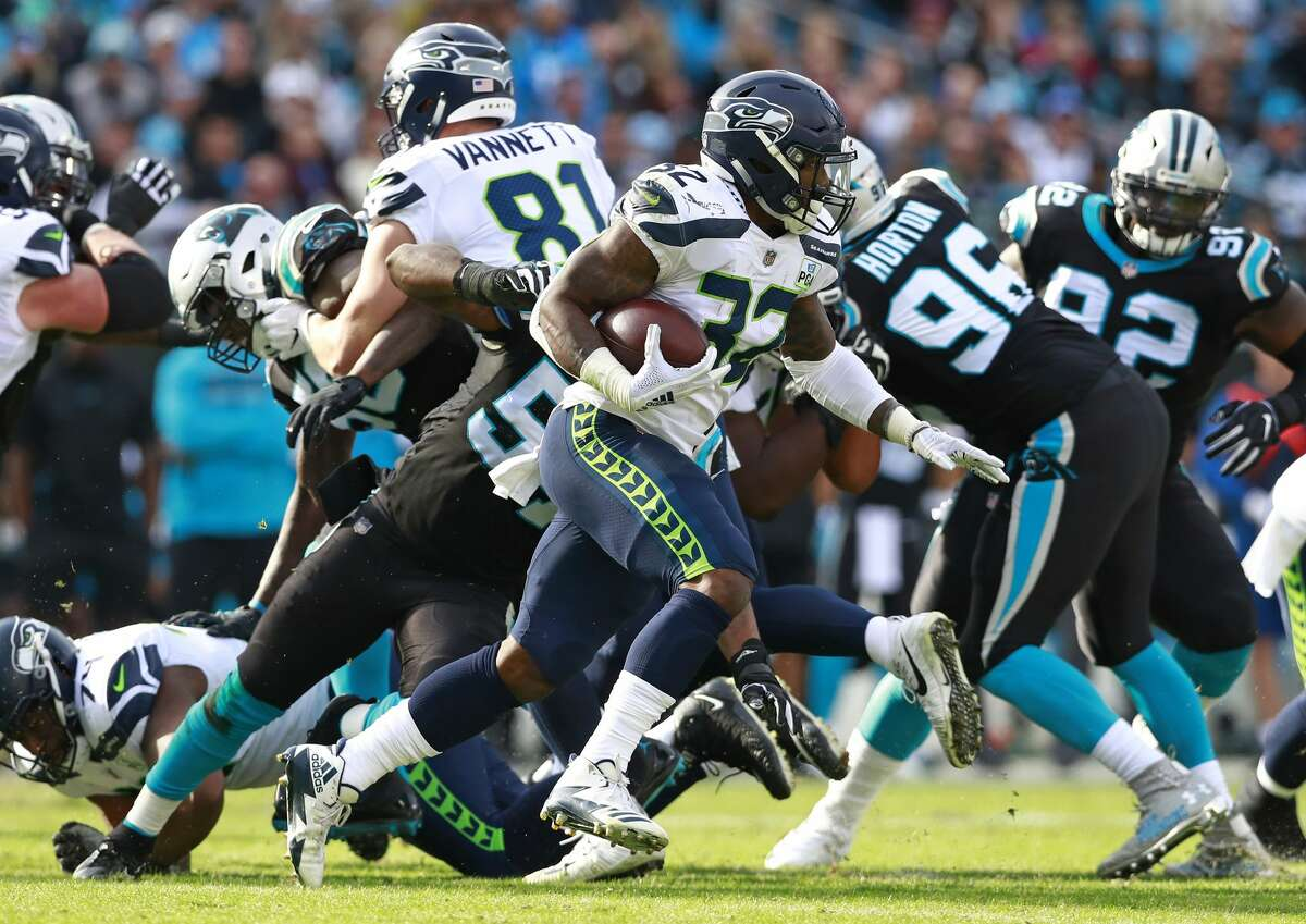 SEAHAWKS' RUN GAME NOT AS SHARP The Panthers came into Sunday ranked eighth in the NFL in run defense. That showed against the Seahawks' NFL-leading run attack. Seattle was held to 75 rushing yards -- it's first time below 100 yards since Week 2 -- and saw its streak of seven consecutive games with 150-plus rushing yards snapped. Starter Chris Carson led the uncharacteristic rushing performance with 16 carries for 55 yards and a touchdown. Rookie Rashaad Penny (4 rushes, 4 yds) had a forgettable game.