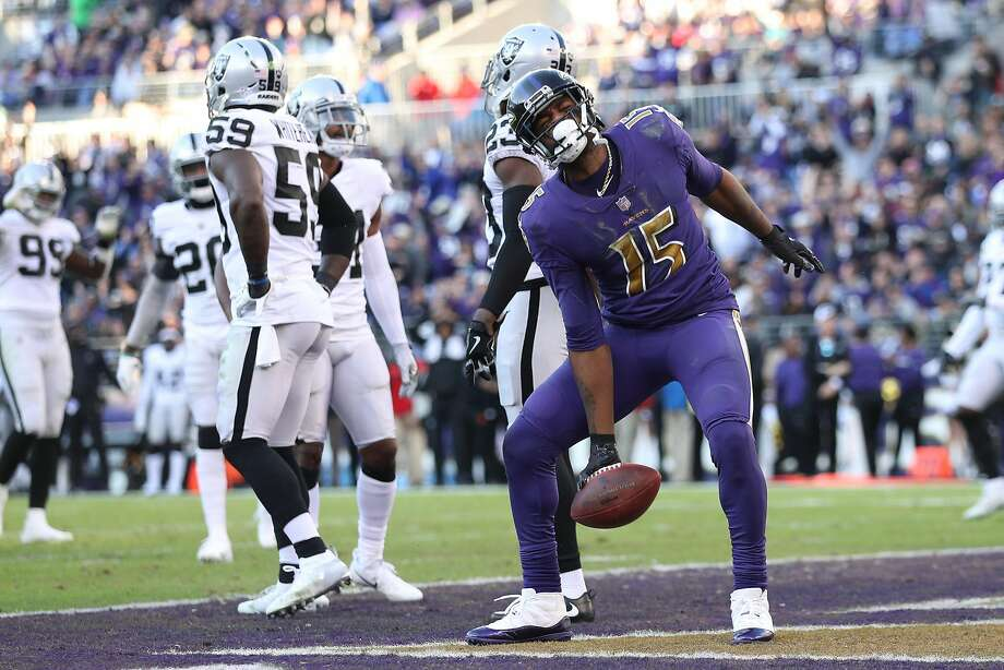 Wide Receiver Michael Crabtree, who played the previous three seasons in Oakland, had an 8-yard touchdown catch against the Raiders in the fourth quarter in Baltimore. Photo: Patrick Smith / Getty Images