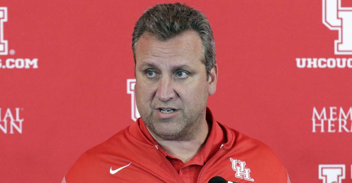 Cougars defensive coordinator Mark D'Onofrio speaks during the University of Houston football media day Thursday, Aug. 2, 2018 at the Carl Lewis Auditorium on the campus in Houston, TX. Michael Wyke/Contributor