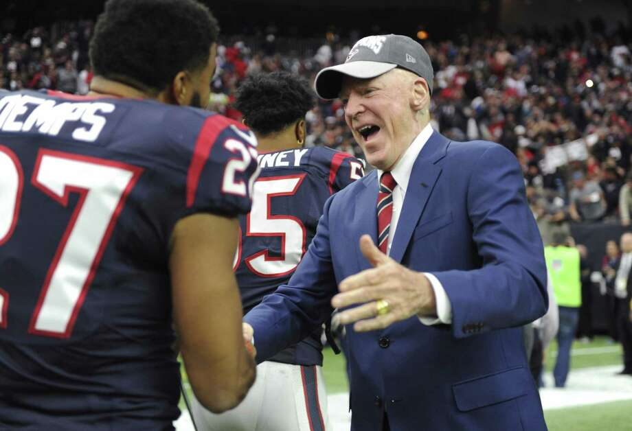 "FILE - In this Jan. 3, 2016, file photo, Houston Texans owner Robert ""Bob"" McNair, right, greets players after the team's win over Jacksonville Jaguars in an NFL football game in Houston. McNair, billionaire founder and owner of the Texans, has died. He was 81. One of the NFL's most influential owners, McNair had battled both leukemia and squamous cell carcinoma in recent years before dying in Houston on Friday, Nov. 23, 2018. (AP Photo/Eric Christian Smith, File) Photo: Eric Christian Smith, FRE / Associated Press / FR171023"