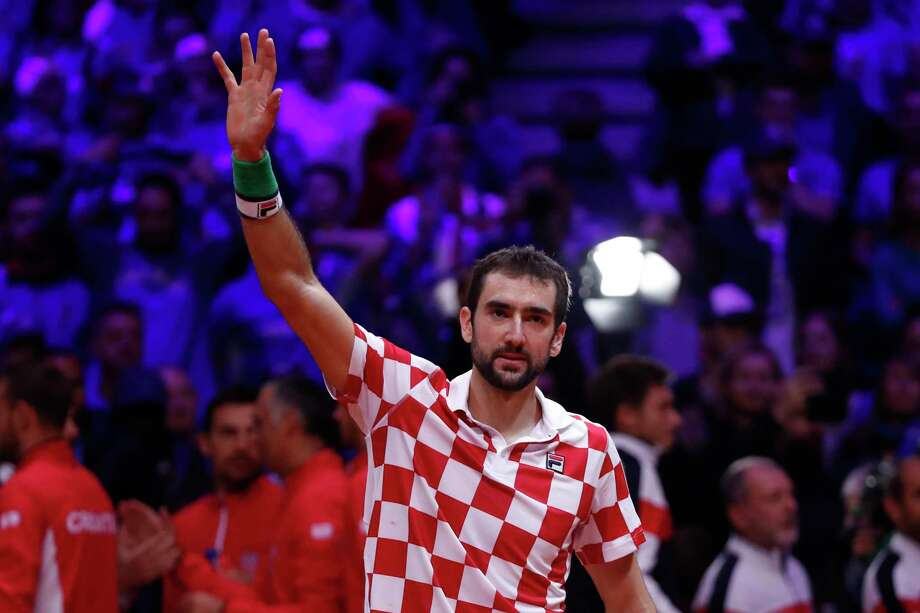 Croatia's Marin Cilic waves after defeating France's Lucas Pouille during the Davis Cup final between France and Croatia Sunday, Nov. 25, 2018 in Lille, northern France. Cilic sealed Croatia's victory over defending champion France in the Davis Cup final with a 7-6 (3), 6-3, 6-3  (AP Photo/Thibault Camus) Photo: Thibault Camus / Copyright 2018 The Associated Press. All rights reserved.