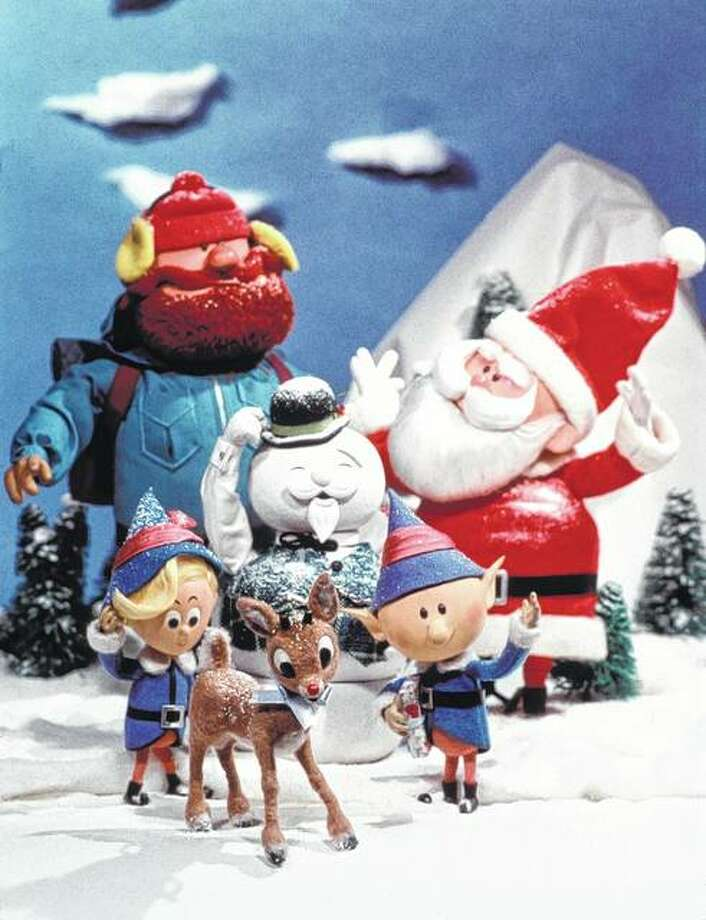 """Hermey (from left), Rudolph, Head Elf, Yukon Cornelius, Sam the Snowman and Santa Claus are the main characters of the beloved Christmas classic """"Rudolph the Red-nosed Reindeer."""" Photo: NBC 