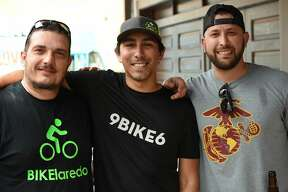 Robert Wallace, Frank Martinez and Paul Rodriguez pose for a photo during the Hecho a Mano Pop-Up Shop.