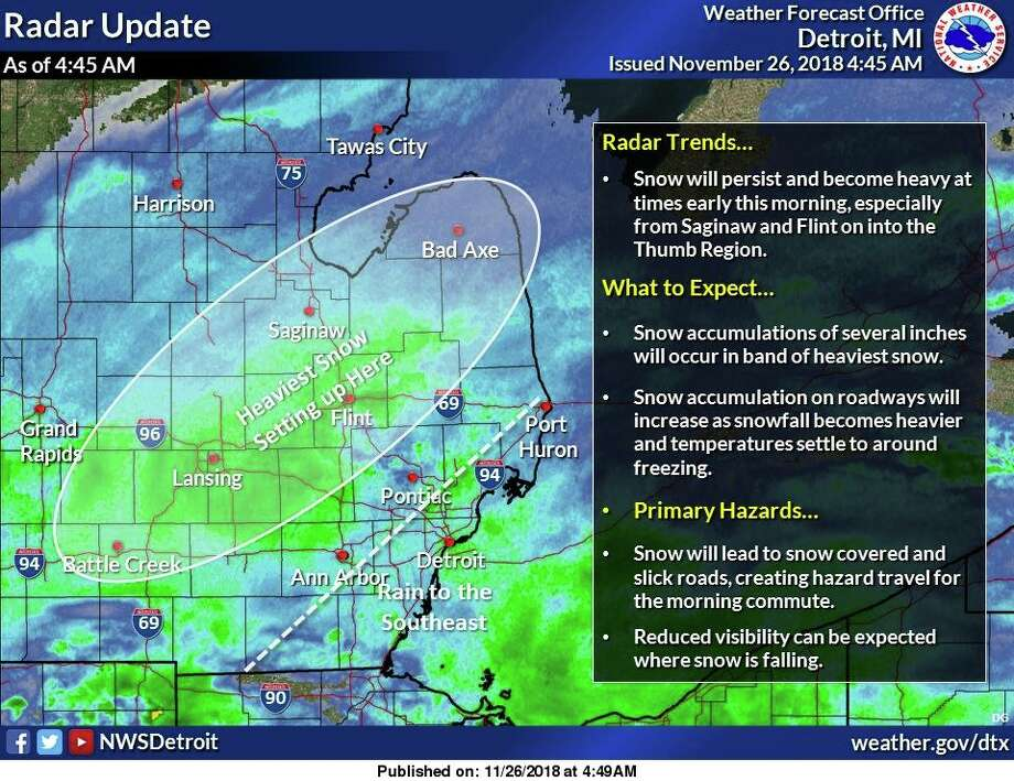 Snow will expand across much of the area, especially northeast of a Ann Arbor to Port Huron line. Several inches of snowfall can be expected early this morning in the heaviest snow generally northwest of metro Detroit. Roads in these areas will become snow covered and slick as temperatures fall to around freezing. Further southeast, rain showers will persist from Detroit south. Photo: National Weather Service Detroit