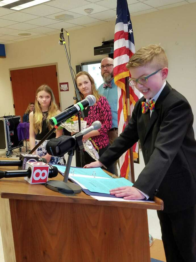 Fifth-graders elected East Hampton resident Ella Briggs, a student at Ana Grace Academy of the Arts Elementary Magnet School in Avon, as the 2019 Connecticut's Kid Governor last week. Photo: Contributed Photo