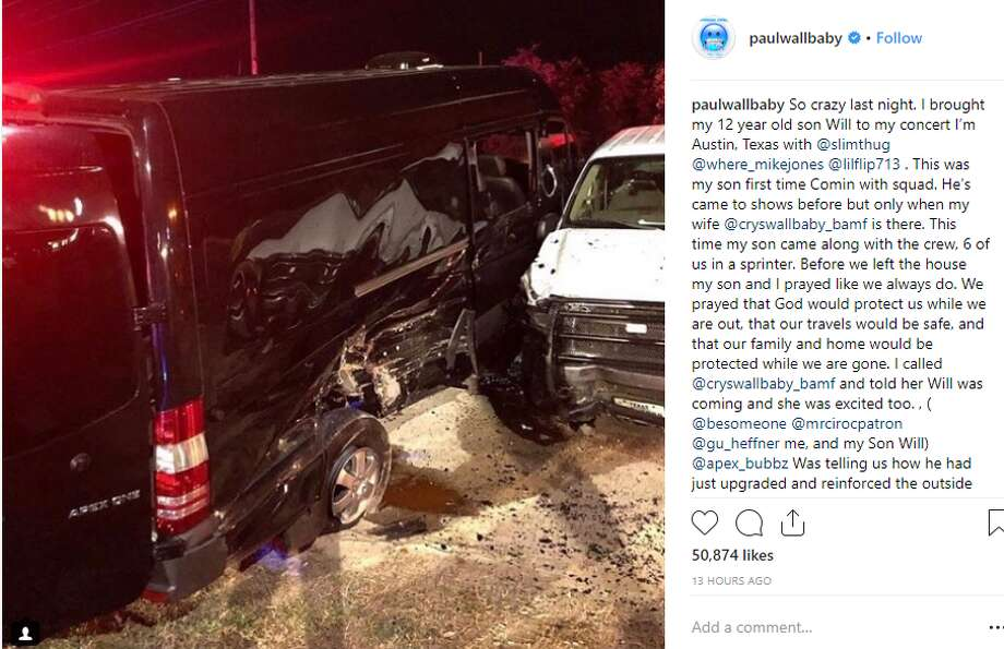 PHOTOS: Spectacular crashes that people survived Houston rapper Paul Wall said he was involved in a crash with his 12-year-old son over the weekend. Both cars were totaled after the wreck, he said.>>> See other crashes that could have been much worse  Photo: Instagram