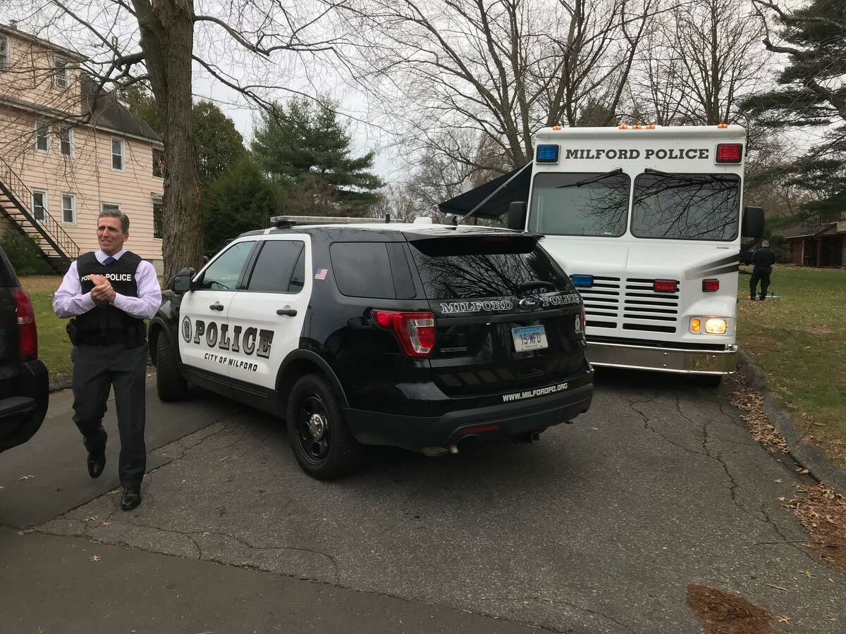 Milford Police Chief Keith L. Mello on the scene of a police standoff on Monday, Nov. 26, 2018 on Falmouth Street. A woman, who was assaulted by her husband and later fled to the police station, led to a police standoff in a Milford neighborhood Monday.