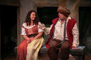 "Elizeth Brito, as Aldonza, and John Ponzini, as Sancho Panza, rehearse for ""Man of La Mancha,"" onstage at TheatreWorks New Milford Dec. 7 through Jan. 5."