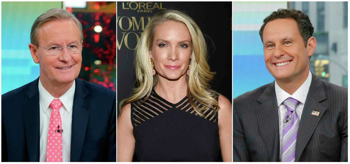 This combination of photos shows Fox News Channel personalities, from left, Steve Doocy, Dana Perino and Brian Kilmeade. Doocy will host a cooking show, tied to a cookbook he's releasing, Perino will have a book club highlighting new releases and Kilmeade, a history buff, will host a show called,