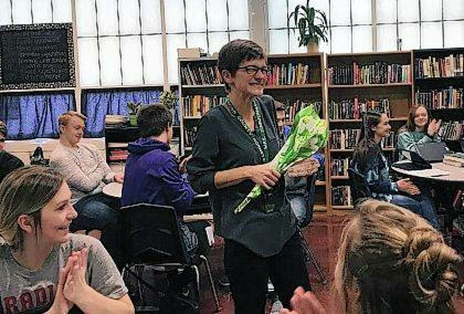 Students applaud Brown County teacher Jenny Zimmerman as she is honored through a new initiative by the Journal-Courier and Beard Implement to recognize the work of educators in the region. Photo: Vicki Selby | Journal-Courier