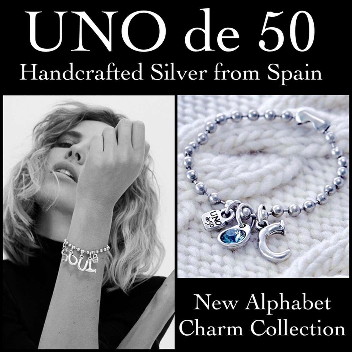 Armed with Charm UNO de 50 is the most sought-after jewelry line in America, and La-Tee-Da Boutique has it. Each piece is handcrafted in silver from Spain. Bracelets are $40, and charms are $50.