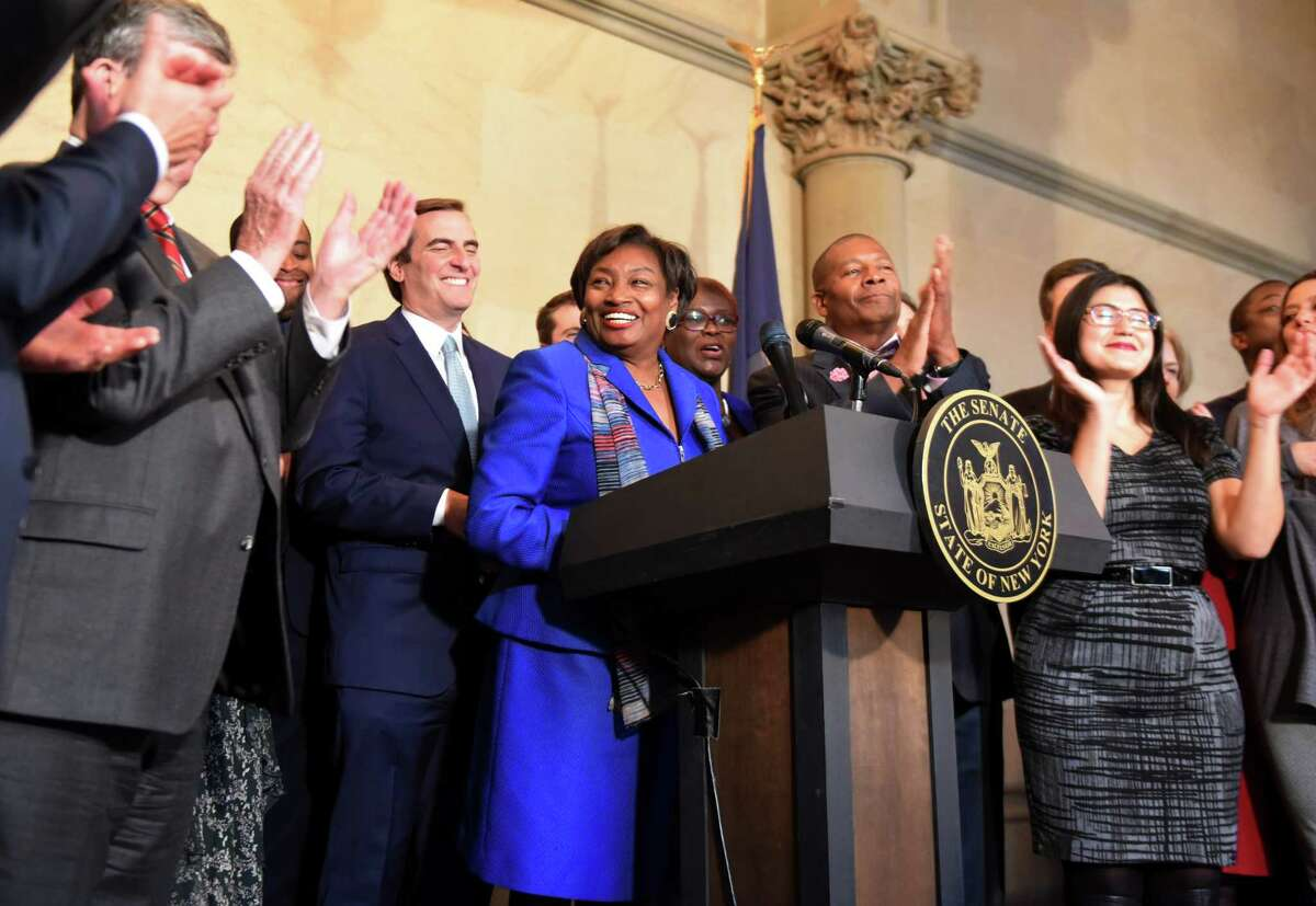 Senator Andrea Stewart-Cousins is cheered by fellow Senate Democrats after being named as state Senate majority leader on Monday, Nov. 26, 2018, at the Capitol in Albany, N.Y. She is the first female majority leader in either house of the state legislature. (Will Waldron/Times Union)